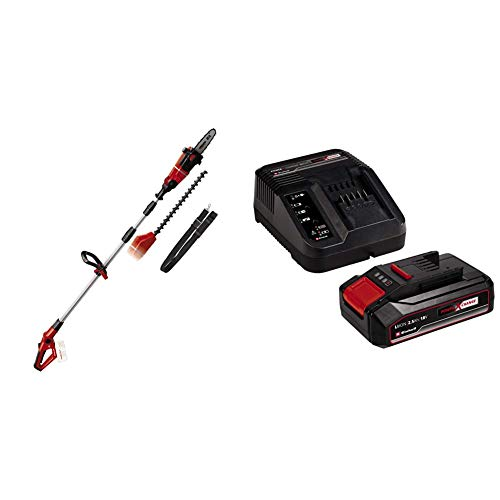 Einhell 3410800 GE-HC 18 Li T Herramienta Multifunción Jardín, Motosierra y Cortasetos, Mango Telescópico Bloqueable, 18 V + Kit para principiantes con Batería 2,5 Ah + Cargador Power X-Change