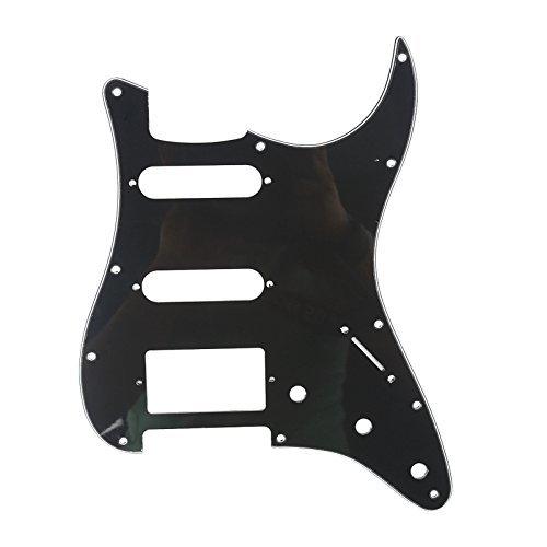 Musiclily 11 Agujeros HSS Strat Pickguard Golpeador para Fender American/México Standard Stratocaster Estilo Moderno, 3 capas Negro