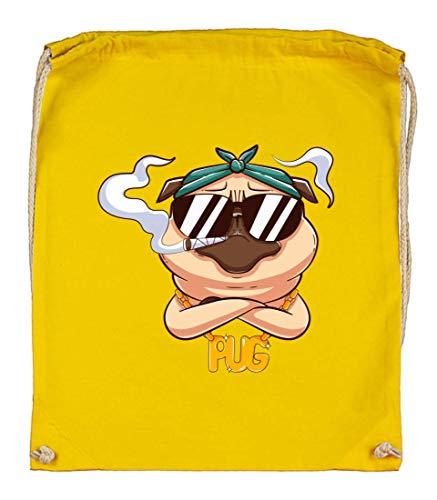 Druckerlebnis24 Bolsa de deporte – Mops Kiffer Gafas Marihuana – Bolsa de tela de algodón orgánico