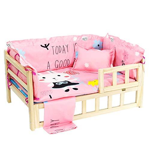 LSM Hundebetten Holz Hundebett mit Leitplanke, Tragbares Abnehmbares Haustierbett, Sichere Hölzerne Hundestuhl Treppe, Atmungsaktives Bequemes Prinzessin Bett (Color : Pink, Size : 95 × 55 × 41cm)