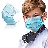 SYMTEX 50 Stück Kinder Mundschutzmasken Masken 3-lagig Mundschutz Gesichtsmaske Einwegmaske mund und nasenschutz (Blau)