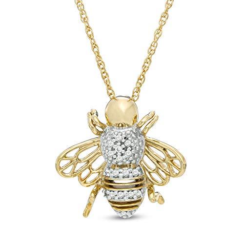 Colgante de abejorro de diamante de corte redondo D/VVS1 con cadena de 45,72 cm en plata de ley 925 chapada en oro amarillo de 10 quilates.