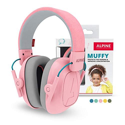 Alpine Muffy Casque Anti-Bruit : protection auditive pour enfants jusqu'à 16 ans - Confortable, réglable et ajustable - Prévient les troubles auditifs - Robuste et facile à ranger – Rose
