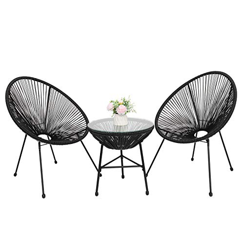 VINGLI 3 Pieces Patio Sets Conversation Bistro Set, Rattan Lounge Chair,Outdoor All-Weather Garden Porch Furniture Sets with Glass Top Coffee Table (Black)