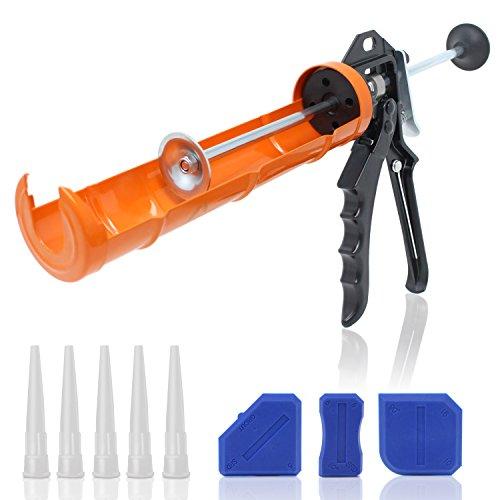 Amazy Pistola Selladora profesional de acero inoxidable – incl. 5 boquillas de repuesto + 3 espátulas – Pistola silicona para barras de 310 ml | Relación de empuje de 12:1