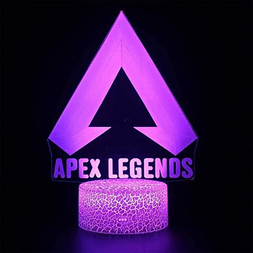 Apex Legends 3D USB lámpara de noche luz sensible al tacto Battle Royale Game Kids luces de dormir lámpara LED noche niños niñas presente decoración para bar club P