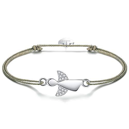 F.ZENI Damen Armband Schutzengel 925 Sterling Silber Armbänder Glücksbringer für Frauen und Mädchen 24cm Einstellbare Handarbeit Geflochtenes