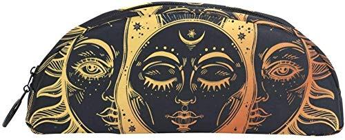 Geldbörse Himmlischer Mond und Sonne mit Gesicht Bleistift Fall Tasche Tasche Briefpapier Bleistift Fall Kosmetik Fall Teen Mädchen Junge Kind