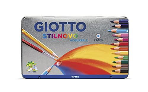 Giotto 256200 - Stilnovo Acquarell Pastelli Acquarellabili Scatola Metallo da 12 Colori