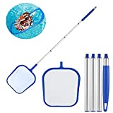QZG 35.4 Inch Swimming Pool Skimmer Net with Aluminum Rod Pole Leaf Skimmer Mesh Rake Net for Spa Pond Swimming Pool, Hot Tubs, Spas and Fountains Pool Cleaner Supplies and Accessories (D)