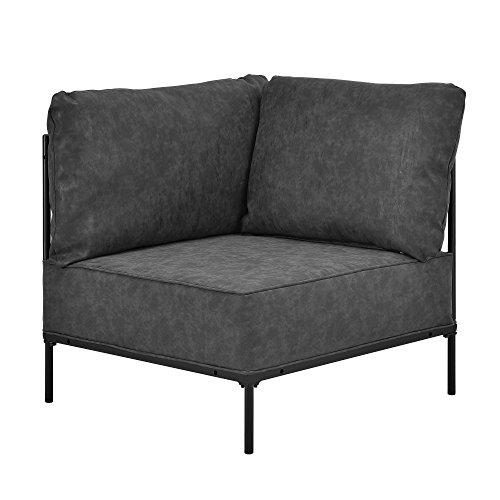 [en.casa] Sillón esquinero Individual Adaptable Negro - decoración del hogar - con armazón y cojín Acolchado cómodo - imitación Ante