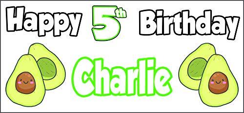 Cartel personalizable con temática de aguacate para 5º cumpleaños, decoración de fiestas, hijo, nieto, niños, hija, nieta, cualquier nombre (paquete de 2)