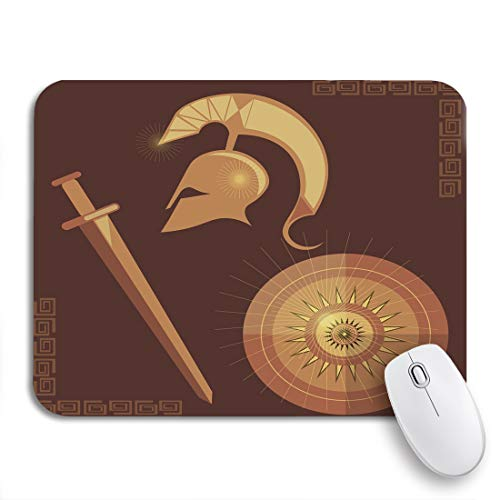 """Adowyee Gaming Mouse Pad Brown Weapons Warrior Ancient Greece Antiquity Armor Army Athens 9.5""""x7.9"""" Nonslip Rubber Backing Mousepad for Notebooks Computers Mouse Mats"""