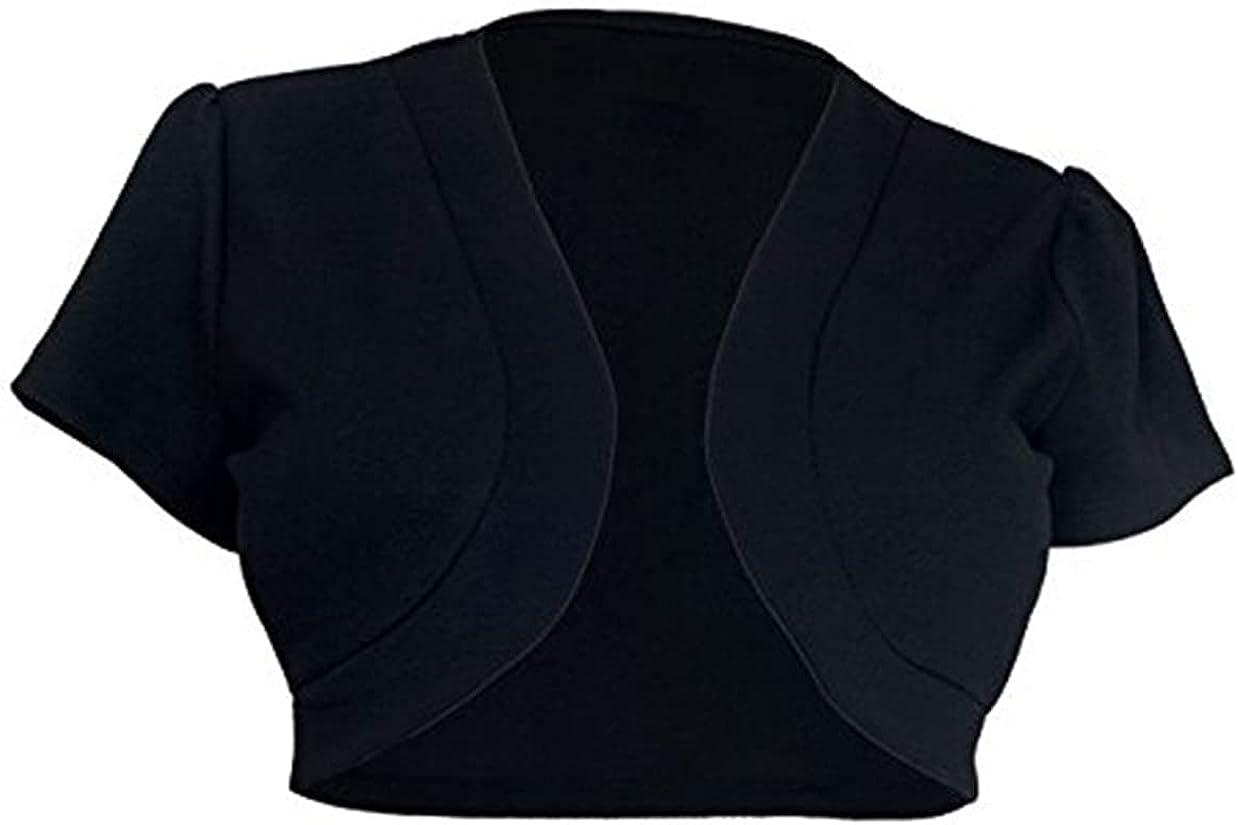 Women Casual Open Front Bolero Shrug Versatile Basic Color Knit Short Sleeve Oversized Cropped Cardigan Jacket