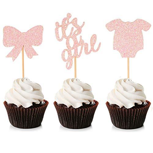 Unimall 48 Stück It's a Girl Cupcake Toppers Baby Overalls Bow Cake Picks für Babyparty Geburtstagsfeier Dekorationen
