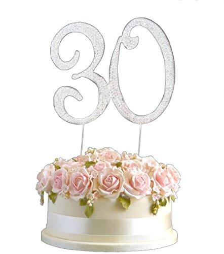 Strass-Kristall Geburtstagstorten-Aufsatz, Wählbare Zahl, Diamanten, Edelsteine, Silber, Diamant Dekoration - Zahlen 1 - 80, Legierung, 30, 7x8