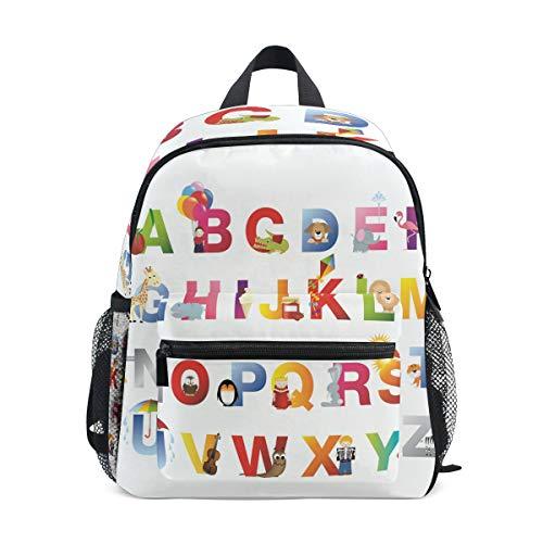 MUOOUM Kinder-Rucksack mit süßem Cartoon-Alphabet, für Vorschulkinder
