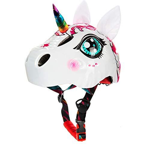 Toddler Helmet Unicorn Bike Helmet for Girls with Taillight 3D Unicorn CPSC and CPSIA Safety Certified for 3-10 Years Easily Adjuastable and Multi-Sport,Skateboard Skating Scooter Helmet