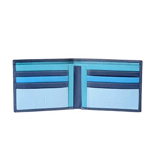 Portafoglio uomo porta carte di credito in vera pelle da 8 tessere porta banconote DUDU Blu