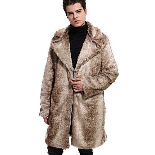 Traje de Hombre Cuello de Piel sintética Chaqueta de Hombre de Longitud Media Cárdigan Gradiente de Piel sintética Otoño Invierno Abrigo cálido,3XL