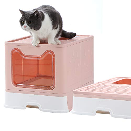 Dymoll Enclosed Litter Box Large, Foldable Top Entrance Cat Litter Box with Lid, Easy Clean No Smell Pet High Sided Litter Box