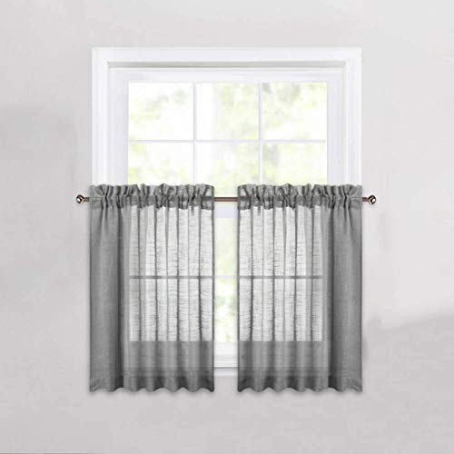 Cozynight Gray Sheer Tier Curtains 24 inch Length Linen Curtain Sheers Transparent Half Window Curtains Kitchen Tiers Bathroom Small Curtains Cafe Curtains Light Filtering Rod Pocket 2 Panels