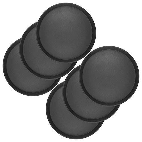 6 x WELLGRO® Gastro Tablett - Ø 35 cm rund, schwarz - antirutsch Kellnertablett Set - Serviertablett - Gastrotablett - Gläsertablett