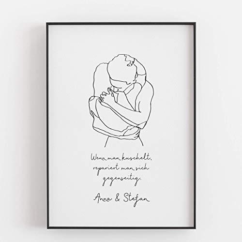 Geschenk Freundin Freund zum Jahrestag Valentinstag Hochzeitstag Jahrestagsgeschenk für sie ihn Mann Frau Wenn man kuschelt repariert man sich gegenseitig Kunstdruck Poster Bild - ungerahmt