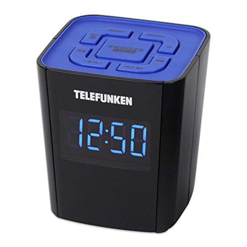 Telefunken Uhrenradio R1000 | 12/ 24h Anzeige | Radiowecker | UKW und digitaler PLL Tuner | Schlummertaste (Schwarz)