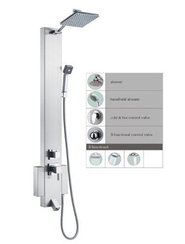"Blue Ocean 48"" Stainless Steel SP822322 Shower Panel Tower with Rainfall Shower Head and Spout"