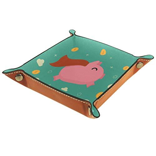 ZDL Pink Pig - Caja de almacenamiento para llaves, teléfono, moneda, cartera, relojes, etc. 20,5 x 20,5