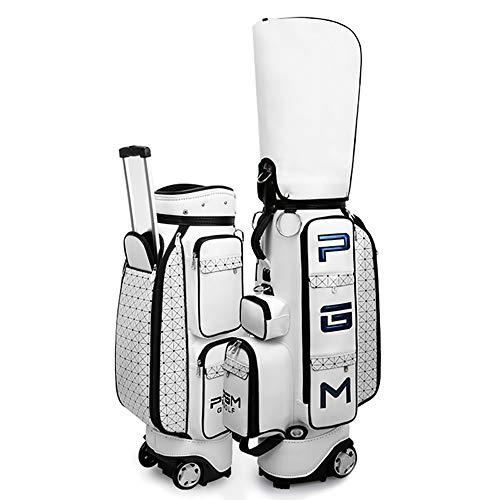 Outdoor sports Damen Golftasche mit Rädern, Tragbare wasserdichte und verschleißfeste pu Golftasche kann 14 Clubs halten, Mit Schutzkappe und Aufbewahrungstasche