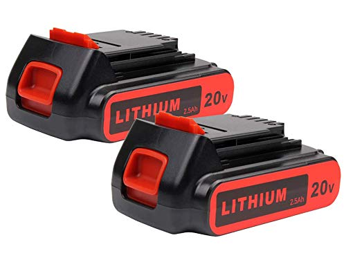 2X Masione 20v 2.5Ah Li-ion Replacement Battery for Black and Decker 20v Battery LBXR20 LB20 LBX20 LBXR2020-OPE LB2X4020 Black and Decker 20v Lithium Battery