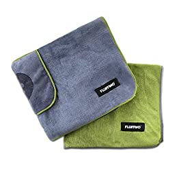 FLUFFINO Dog Towel – Absorbent, Soft and Washable (2-pack, 120×70 cm, grey & green, 60°C washable)- Fast drying microfibre towel for small & large dogs – bath towel for dogs/cats