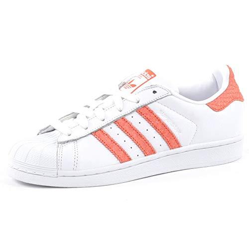 adidas Superstar, Baskets Femme, Weiß (Weiß/Orange Weiß/Orange), 36 EU
