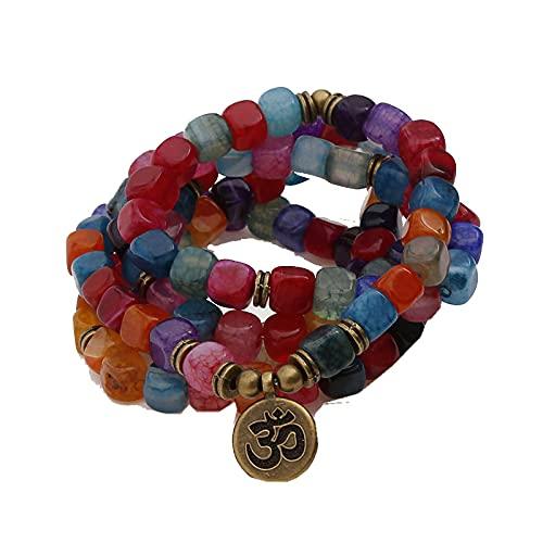 108 Mala Beads Yoga Chakra Pulsera Multicolor Crack Ágata Piedra Natural Pulsera y Collar Mujeres Hombres Cuenta 8MM