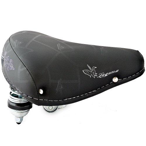 Selle Montegrappa FAHRRADSATTEL Leder CITYSATTEL in Retro Look für 26-28 Zoll Fahrrad Laguna schwarz - Made in Italy