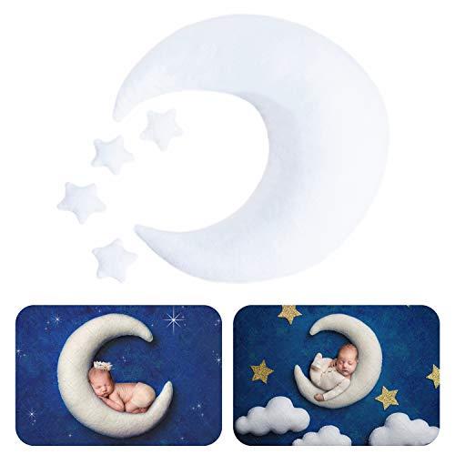 Neugeborene Fotografie Posieren Kissen Halbmond Kissen Stern Kissen Posing Bohnen Mond Kissen Sterne Set DIY Neugeborene Professionelle Fotografie Prop Weiß