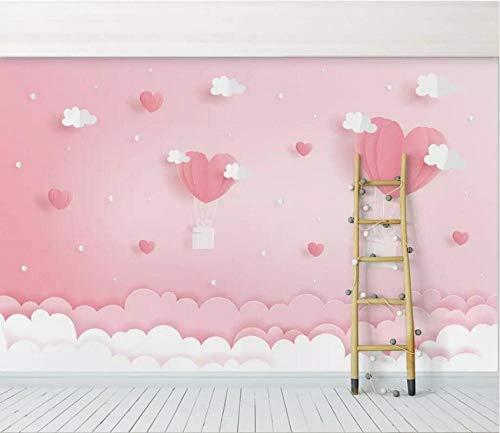 XLXBH 3D-behang zelfklevend wandschilderij fotobehang modern roze wolk fantasie prinses kinderkamer achtergrond behang woonkamer, kinderkamer kantoor eetkamer woonkamer woonkamer decoratieve muur kunst 520x290 cm (BxH) 11 Streifen - selbstklebend
