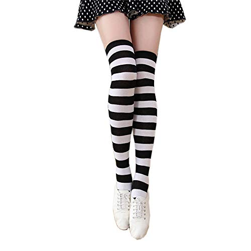 ZTcenter Overknee Strümpfe Kniestrümpfe gestreifte Sportsocken College Cheerleader Kostüm Baumwollstrümpfe Damen,D Weiße Schwarze Streifen