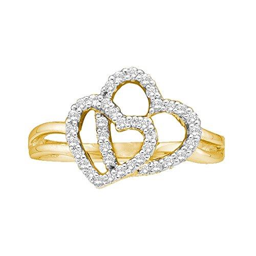 Jewels By Lux Anillo Doble de Oro Amarillo de 14 kilates para Mujeres 10