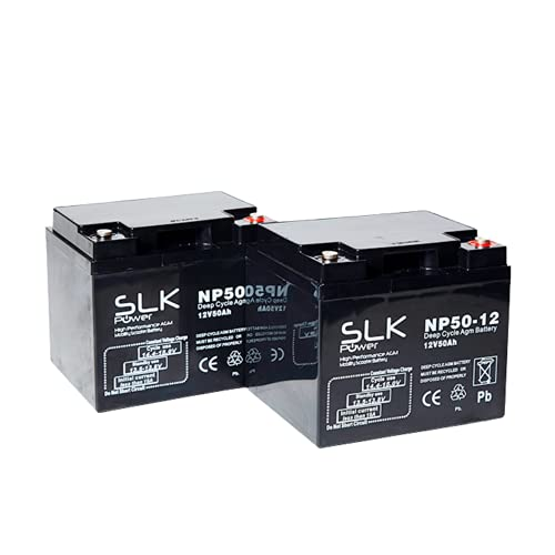 Pair of 12V 50ah Mobility Scooter Wheelchair Batteries