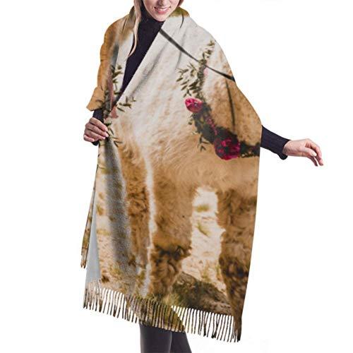 VJSDIUD Bufanda chal 27'x77' Scarf Close Up Portrait Of Two Cute Alpacas Soft Cashmere Scarf Winter Cashmere Scarf For Men Stylish Large Warm Blanket