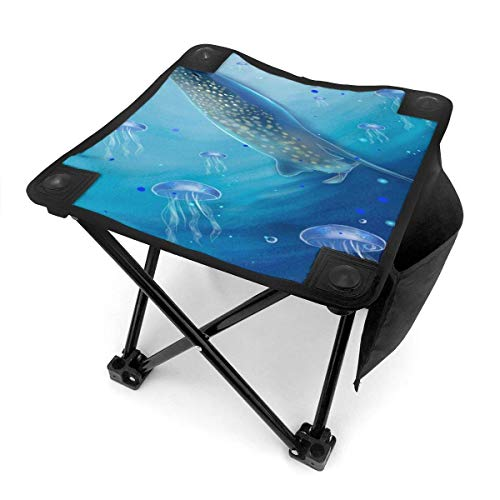 LLOOP Camping Stool Folding Whale Jellyfish Underwater World Portable Chair Camping Hunting Fishing Travel with Carry Bag