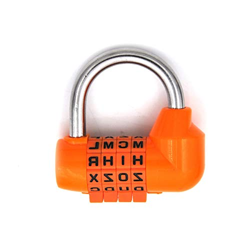 Padlock 4 Dial Digital Letter Combination Travel Security Password Lock Diary Password Padlock Pink, Black, Yellow, Green, Red, Orange Og