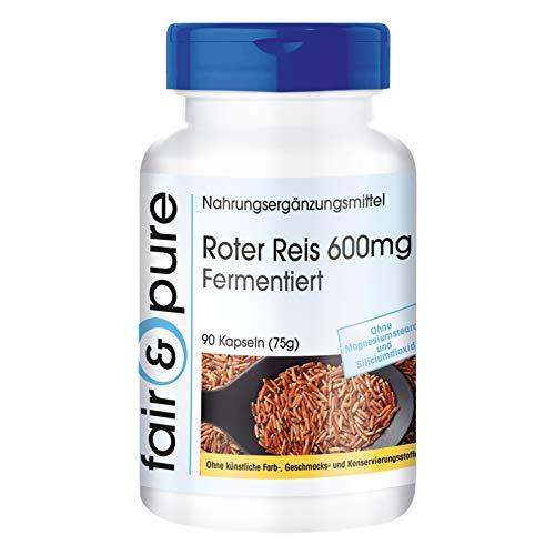 Roter Reis Kapseln 600mg mit 4,5mg Monacolin K pro Kapsel - fermentierter Roter Reis - vegan - ohne Magnesiumstearat - 90 Kapseln