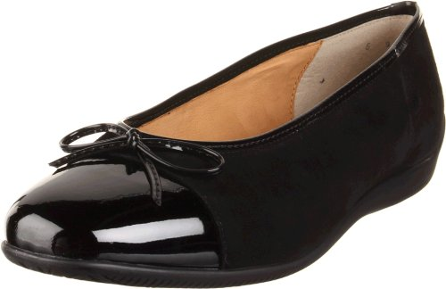 ara Women's Bella Ballet Flat, Black Suede/Patent Tip, 9.5 M US
