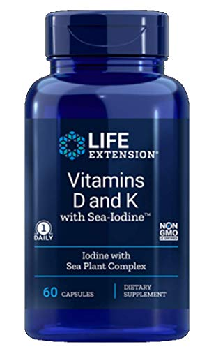 Life Extension Vitamins D and K with Sea-Iodine 60 Capsules (2pack)