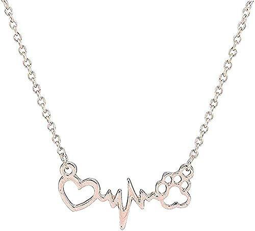 Collar Collar lindo perro mascota huella pata corazón amor cadena colgante collar Y colgante joyería mujeres collar colgante collar regalo para mujeres hombres niñas niños