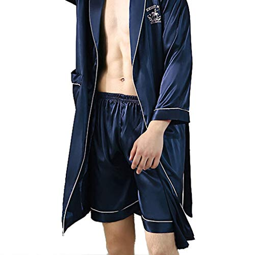 1PCS Mens Sleep Bottoms Sleepwear Men Underwear Solid zijde satijn boxershort Nachtkleding Pyjama QPLNTCQ (Color : Ny, Size : XXL)